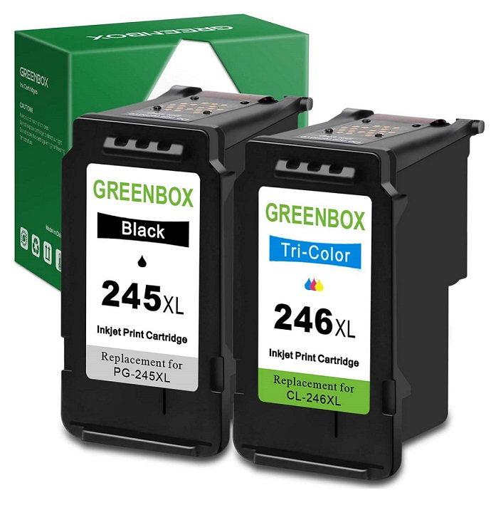 GREENBOX Remanufactured Ink Cartridges 245 and 246 Replacement for Canon PG Best Recycled Ink Cartridge for Canon Pixma Series