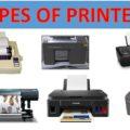 Types of Printers Laser printer inkjet printer thermal printer dotmatrix printer led printer